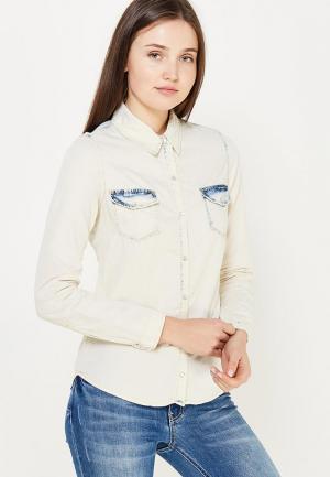 Рубашка джинсовая MiraSezar. Цвет: бежевый