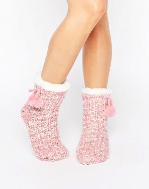 Loungeable Меланжевые вязаные носки с помпонами. Цвет: розовый