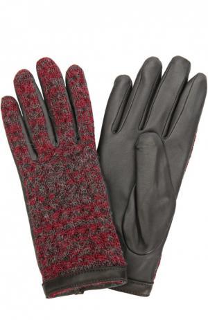 Кожаные перчатки с отделкой из шерсти Agnelle. Цвет: бордовый