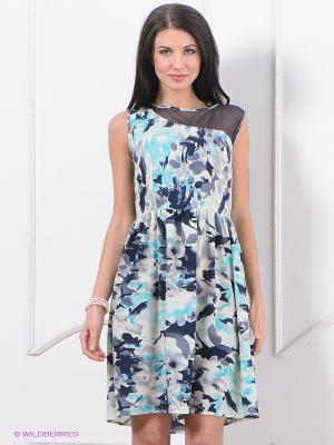Платье Top Secret. Цвет: молочный, темно-синий, бирюзовый
