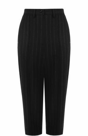 Укороченные шерстяные брюки в полоску Mm6. Цвет: черный