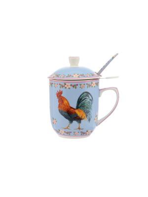 Кружка с металлическим ситом Петух в цветах на голубом  ложкой Elan Gallery. Цвет: голубой