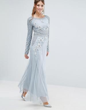 Frock and Frill Платье макси с длинными рукавами и отделкой. Цвет: серый