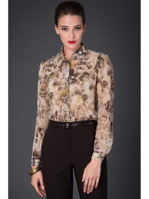 Блузка Арт-Деко. Цвет: коричневый, бежевый