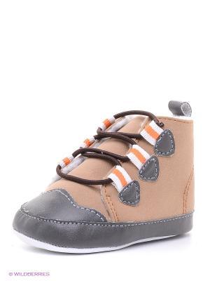 Пинетки Тёплые ботинки Luvable Friends. Цвет: бежевый, оранжевый