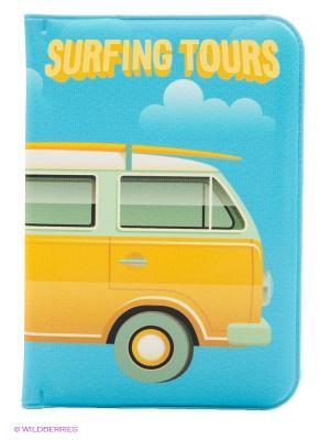 Обложка для паспорта Surfing tours Kawaii Factory. Цвет: голубой, желтый