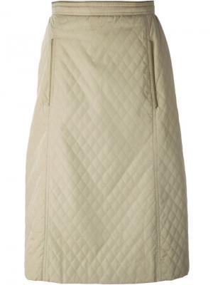 Стеганая юбка Céline Vintage. Цвет: телесный