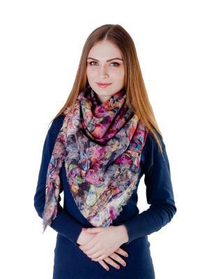 Платок большой Радужный взгляд Le Motif Couture. Цвет: розовый, белый, черный