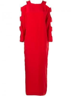Платье с вырезными деталями Alessandra Rich. Цвет: красный
