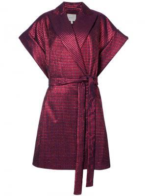 Пальто с поясом и короткими рукавами Delpozo. Цвет: красный