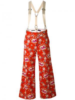 Широкие брюки с цветочным узором Ys Y's. Цвет: красный