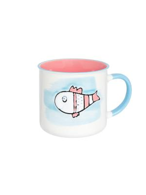 Кружка Рыбка Elan Gallery. Цвет: розовый, белый, бирюзовый