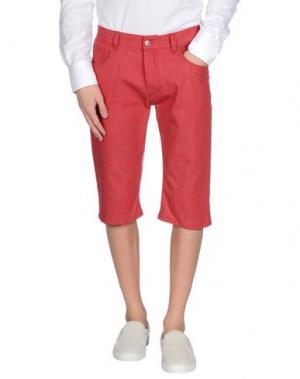 Джинсовые брюки-капри RAF SIMONS. Цвет: кирпично-красный