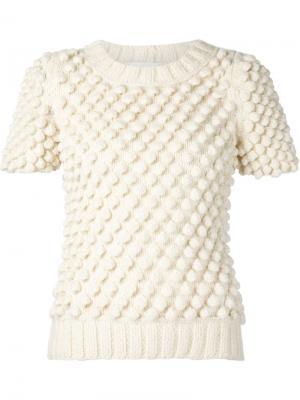 Трикотажный свитер с короткими рукавами Valery Kovalska. Цвет: белый