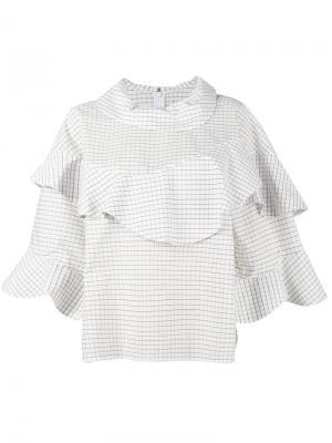 Блуза в клетку с рюшами A.W.A.K.E.. Цвет: белый