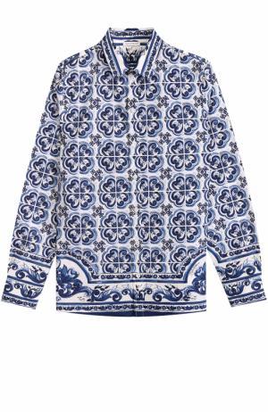 Хлопковая рубашка прямого кроя с принтом Dolce & Gabbana. Цвет: голубой