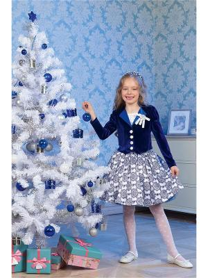 Комплект для девочек (топ, юбка, жакет) Perlitta. Цвет: синий