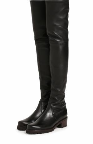 Кожаные ботфорты Vanland на устойчивом каблуке Stuart Weitzman. Цвет: черный