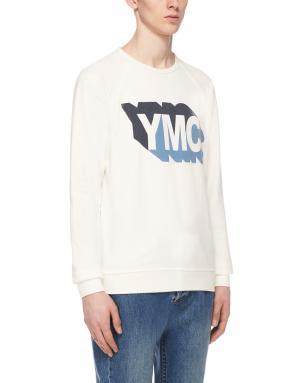 Хлопковый свитшот YMC. Цвет: белый