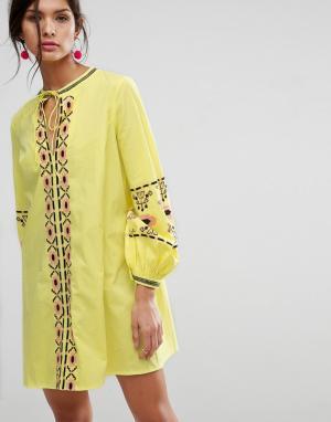 ASOS Платье с длинными рукавами и вышивкой. Цвет: черный