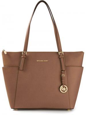 Большая сумка-тоут Michael Kors. Цвет: коричневый