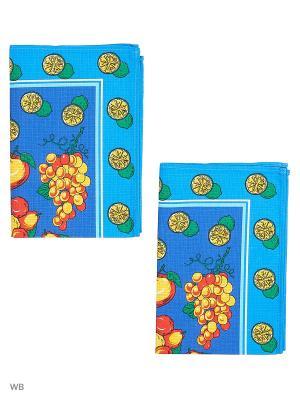 Набор полотенец вафельных кухонных Римейн. Цвет: синий, красный