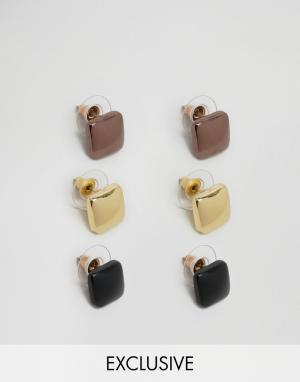 DesignB London Набор из 3 пар серег-гвоздиков. Цвет: мульти