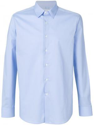 Классическая рубашка Paolo Pecora. Цвет: синий