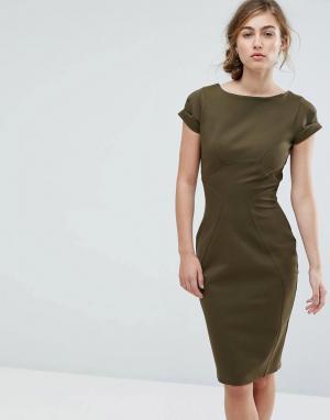 Closet London Платье-футляр с присборенными короткими рукавами. Цвет: зеленый