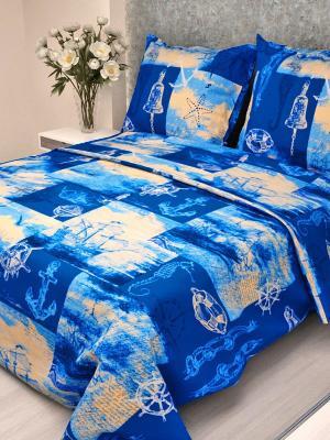 Комплект постельного белья детский Letto Кораблик, нав-ка 50х70, 100% хлопок. Цвет: голубой