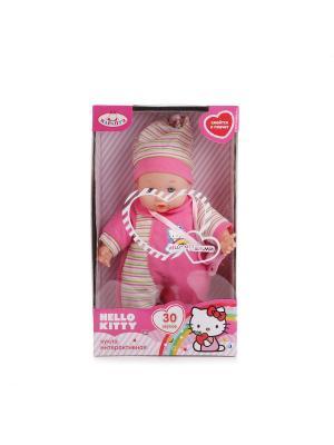 Пупс Карапуз Hello Kitty 30см, озвученный, 30 звуков, мягкое тело.. Цвет: розовый, белый, зеленый