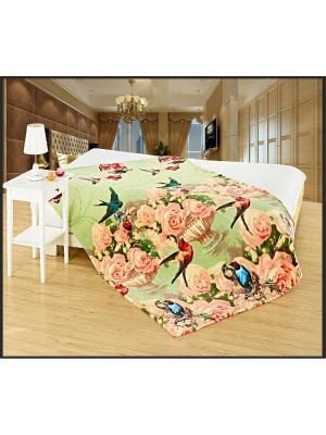 Плед Амели Велсофт 150х200 Традиция. Цвет: зеленый, розовый