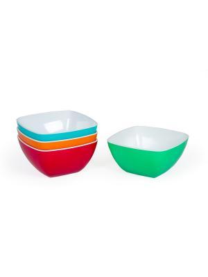 Набор из 3х Салатников Премиум квадратные Полимербыт. Цвет: зеленый, голубой, красный, оранжевый