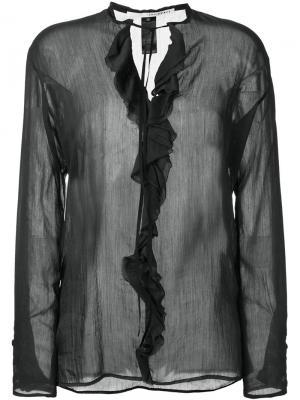Блузка с оборками Isabel Benenato. Цвет: чёрный