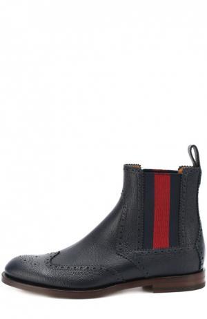 Кожаные челси Strand с брогированием Gucci. Цвет: темно-синий