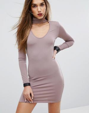 Motel Облегающее платье с горловиной-чокер. Цвет: фиолетовый