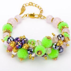 Авторский браслет Весенний каприз розовый кварц, жемчуг, хрусталь, арт. КР-6097 Бусики-Колечки. Цвет: разноцветный