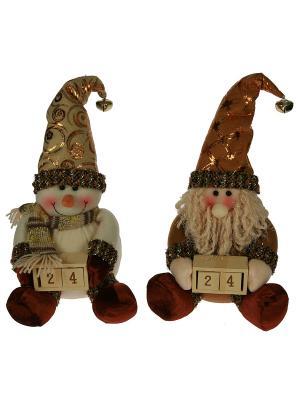 Новогодний сувенир Дед Мороз/Снеговик Русские подарки. Цвет: коричневый, кремовый, белый
