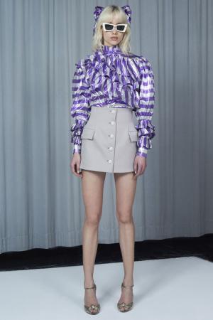 Блузка из ламе в полоску Alessandra Rich. Цвет: фиолетовый, белый