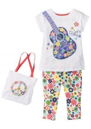 Комплект: футболка + легинсы сумка. Цвет: белый