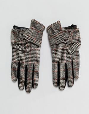 River Island Перчатки для вождения в клетку с кожаными вставками. Цвет: мульти