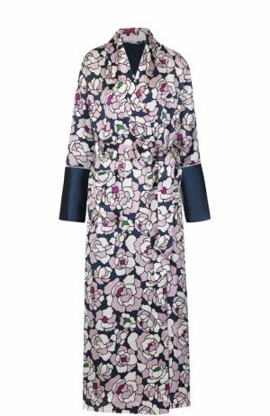 Шелковый халат с принтом и поясом Olivia Von Halle. Цвет: разноцветный