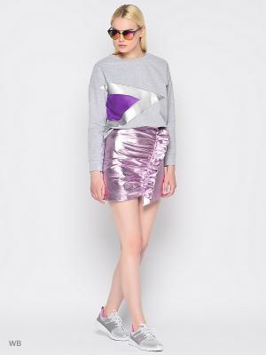 Свитшот &Berries. Цвет: серый меланж, фиолетовый, серебристый