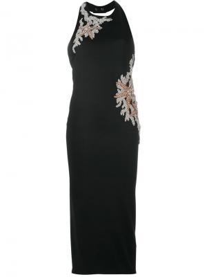 Платье с открытой спиной Balmain. Цвет: чёрный