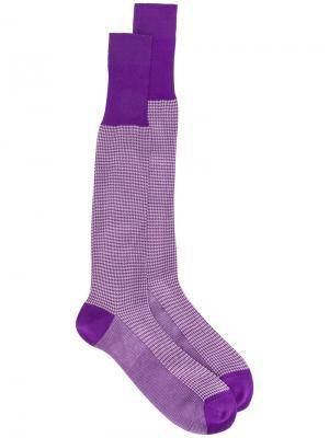 Носки в ломаную клетку Fashion Clinic Timeless. Цвет: розовый и фиолетовый