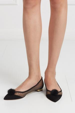 Туфли Baby Zarina из замши и норки Aquazzura. Цвет: черный