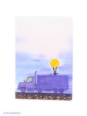 Обложка для паспорта Мальчик, Луна и грузовик Mitya Veselkov. Цвет: фиолетовый, розовый