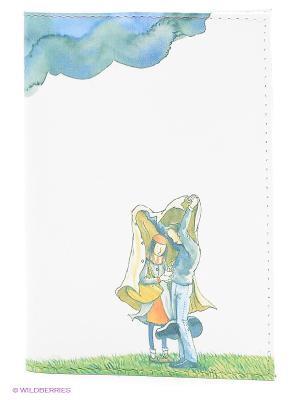 Обложка для автодокументов Влюбленные и тучка Mitya Veselkov. Цвет: белый, зеленый
