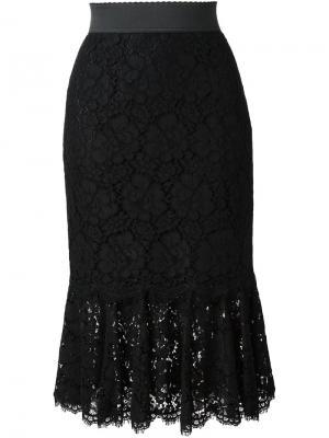 Кружевная юбка Dolce & Gabbana. Цвет: чёрный