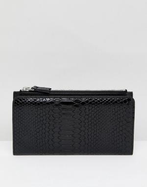 Monki Бумажник на молнии. Цвет: черный